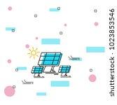solar pane line art. saving...   Shutterstock .eps vector #1023853546