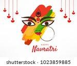 navratri hindu festival design  ... | Shutterstock .eps vector #1023859885