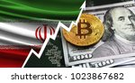 flag of iran and bitcoin coins | Shutterstock . vector #1023867682