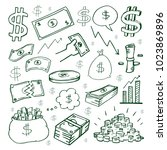 cash money vector hand drawn... | Shutterstock .eps vector #1023869896