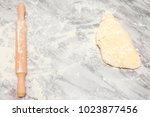 fresh raw dough for pizza or... | Shutterstock . vector #1023877456