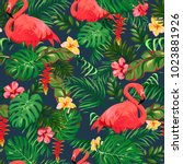 seamless pattern with leaves of ... | Shutterstock .eps vector #1023881926