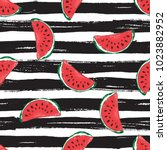 water melon seamless pattern... | Shutterstock . vector #1023882952