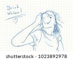blue pen sketch on square grid... | Shutterstock .eps vector #1023892978