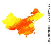 map of china with a watercolor... | Shutterstock . vector #1023894712