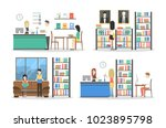 people at library set. books on ... | Shutterstock . vector #1023895798