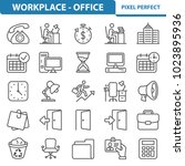 workplace and office icons.... | Shutterstock .eps vector #1023895936