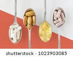 healthy supplements on... | Shutterstock . vector #1023903085