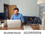 young man working online with a ...   Shutterstock . vector #1023905056