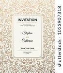 vintage wedding invitation... | Shutterstock .eps vector #1023907318