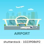airport building exterior with... | Shutterstock .eps vector #1023908692