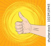 hand with the thumb lifted up ... | Shutterstock .eps vector #1023910945