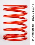 Small photo of suspension red springs on a white background