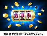 bitcoin jackpot  cryptocurrency ... | Shutterstock .eps vector #1023911278