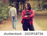 beautiful woman waiting for... | Shutterstock . vector #1023918736