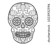 day of the dead colorful skull... | Shutterstock .eps vector #1023932596