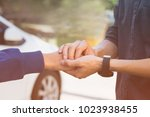businessman with client holding ... | Shutterstock . vector #1023938455