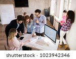 picture of young architects... | Shutterstock . vector #1023942346