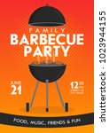 lovely vector barbecue party... | Shutterstock .eps vector #1023944155