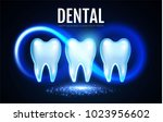 shining helthy tooth with... | Shutterstock .eps vector #1023956602