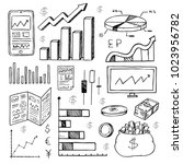 stock market had drawn symbols... | Shutterstock .eps vector #1023956782