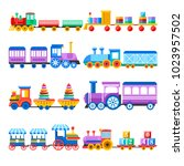 toy train with kid toys vector...   Shutterstock .eps vector #1023957502