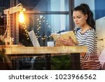 looking interested. young smart ...   Shutterstock . vector #1023966562