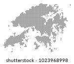 pixel mosaic map of hong kong...