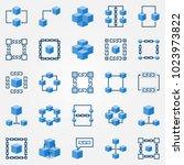 blockchain blue icons set  ...   Shutterstock .eps vector #1023973822