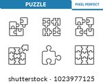 puzzle icons. professional ... | Shutterstock .eps vector #1023977125