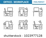 office   workplace icons.... | Shutterstock .eps vector #1023977128