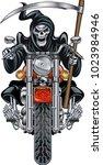 grim reaper with scythe riding... | Shutterstock .eps vector #1023984946