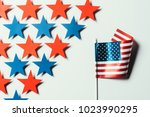top view of stars and american... | Shutterstock . vector #1023990295