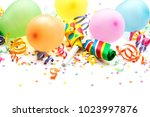 noisemakers  streamers and... | Shutterstock . vector #1023997876