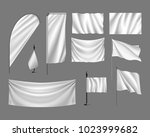 flags  mockup. set white flags  ... | Shutterstock . vector #1023999682