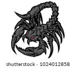 red eyes black scorpion monster ... | Shutterstock .eps vector #1024012858