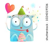 cheerful monster party with... | Shutterstock .eps vector #1024019536