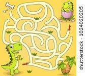 help dinosaur find path to nest.... | Shutterstock .eps vector #1024020205