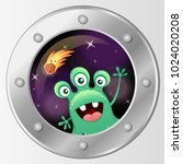 porthole of the spaceship. view ... | Shutterstock .eps vector #1024020208