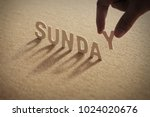 sunday wood word on compressed... | Shutterstock . vector #1024020676