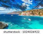 assos village in kefalonia ... | Shutterstock . vector #1024026922