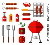 vector flat barbecue  bbq... | Shutterstock .eps vector #1024035442