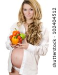 pregnant woman with vegetables... | Shutterstock . vector #102404512