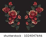 vintage roses embroidery ... | Shutterstock .eps vector #1024047646