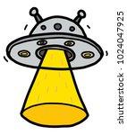 alien spaceship   cartoon... | Shutterstock .eps vector #1024047925
