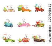 cute little bunnies driving... | Shutterstock .eps vector #1024048612