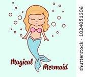 cute mermaid character   sea... | Shutterstock .eps vector #1024051306