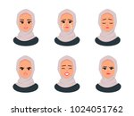 set of muslim woman's emotions. ... | Shutterstock .eps vector #1024051762