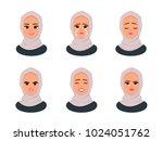 set of muslim smiling girl in... | Shutterstock .eps vector #1024051762