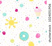 seamless cute pattern with... | Shutterstock .eps vector #1024051906